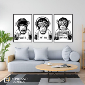 3 Macacos – Kit com 03 Quadros