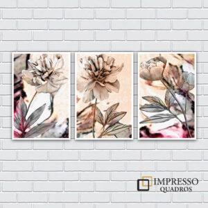 Flores 03 – Kit com 03 Quadros