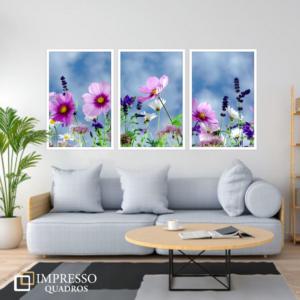 Flores Roxas 01 – Kit com 03 Quadros