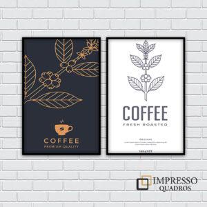 Café Branco e Preto – Kit com 02 Quadros