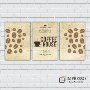 Coffee House Kit com 03 Quadros