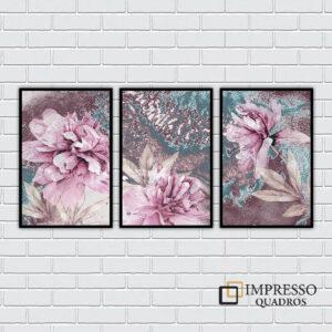 Flores Roxas Abstratas – Kit com 03 Quadros